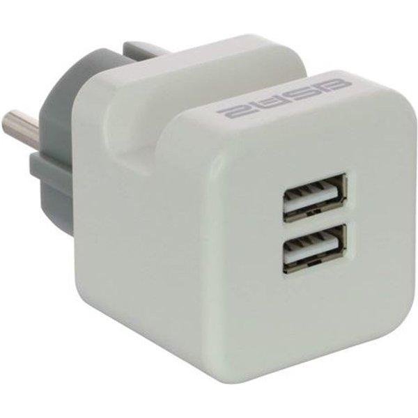 2USB 2U-449436 Zwischenstecker Kunststoff mit USB-Anschluss 230V Weiß, Grau IP20