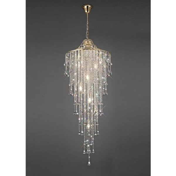 Diyas IL32775 Inina 7 Light Tall Ceiling Light In French Gold