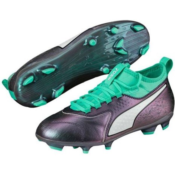 Puma One 3 Leather Firm Ground Football Boots - Blue - Kids