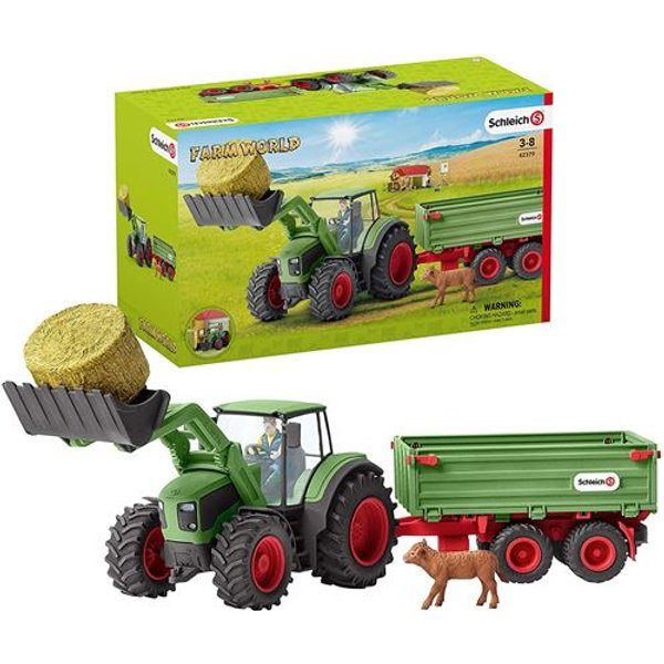 Schleich Boerderij - Tractor Met Aanhangwagen 42379