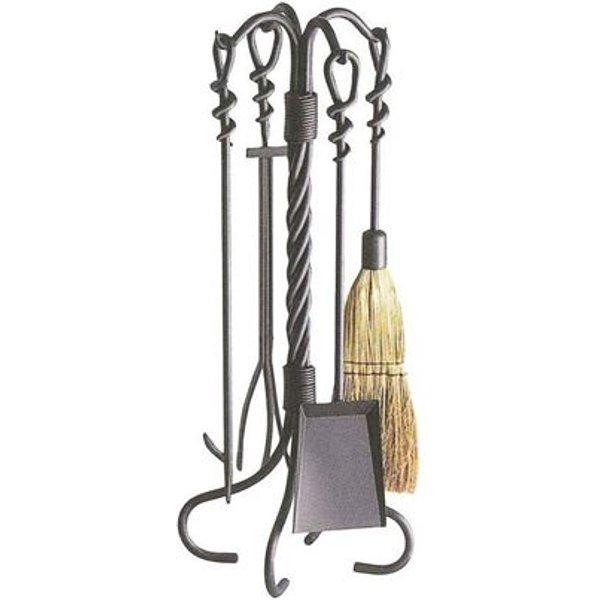 Valet de cheminée en fer forgé torsades 4 accessoires