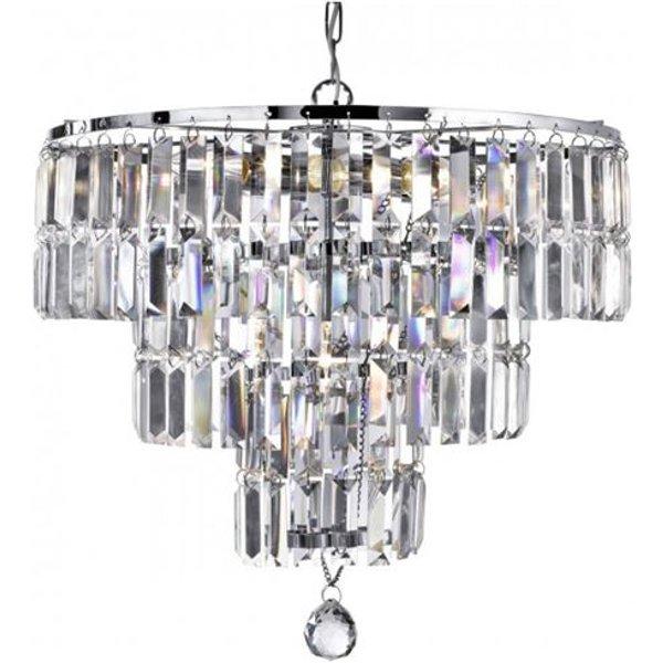 Suspension 5 ampoules Empire, en chrome et cristal