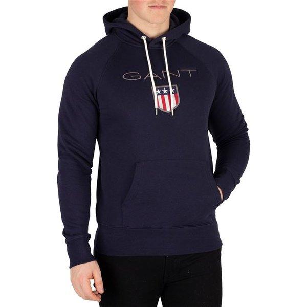 Gant  GANT SHIELD SWEAT HOODIE  men's Sweatshirt in Blue. Sizes available:XXL,S,M,L,XL,XS,UK S,UK M,UK L,UK XL,UK XXL,UK 3XL