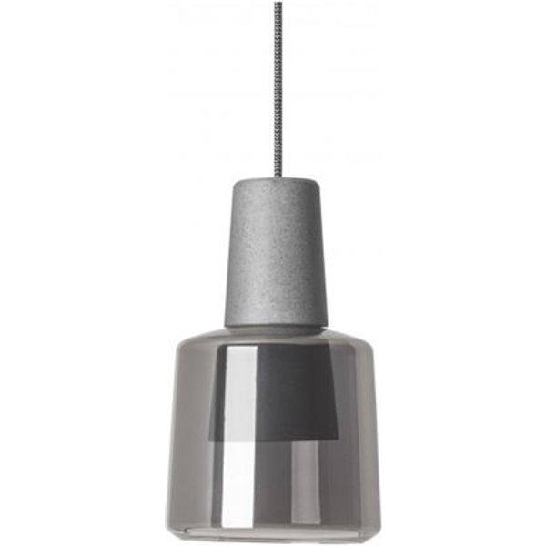 Suspension Khoi, aluminium et verre, gris ciment