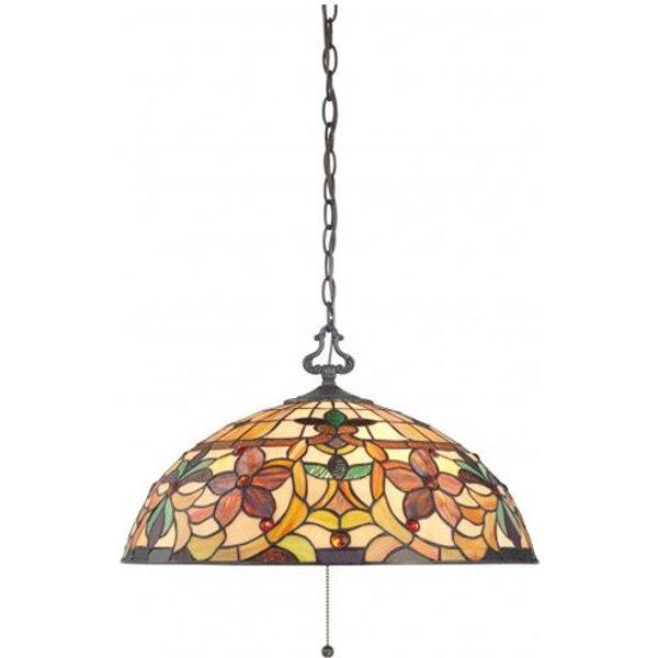 QZ/KAMI/P Kami Tiffany Bronze 3 Light Ceiling Pendant