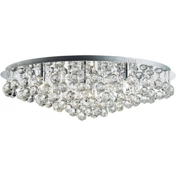 Searchlight 9598-8CC Hanna 8 Light Round Flush Ceiling Light In Chrome With Crystal