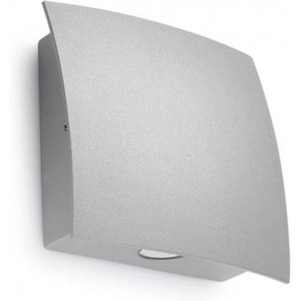 Applique Surf, aluminium et verre, gris, 15 cm