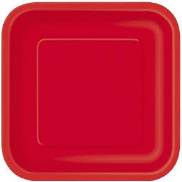 14 Grandes assiettes rouges carrées en carton