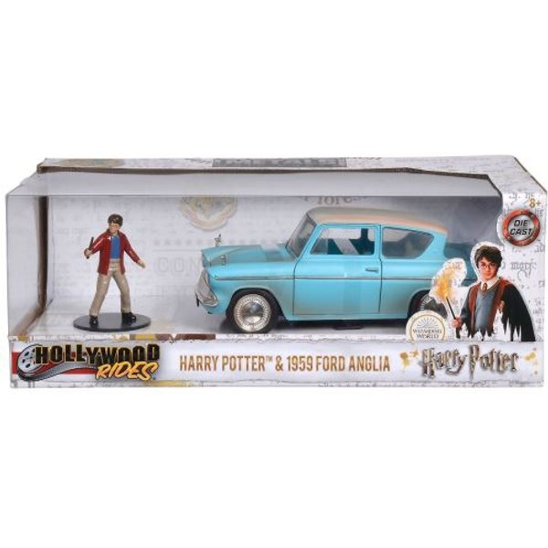 Harry Potter - Hollywood Rides 1959 Ford Anglia Die-cast Toy Car with Harry Die-cast Figure (Blue)