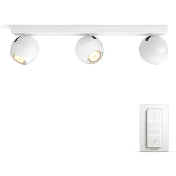 Spot LED à 3 lampe Philips Hue Buckram en blanc