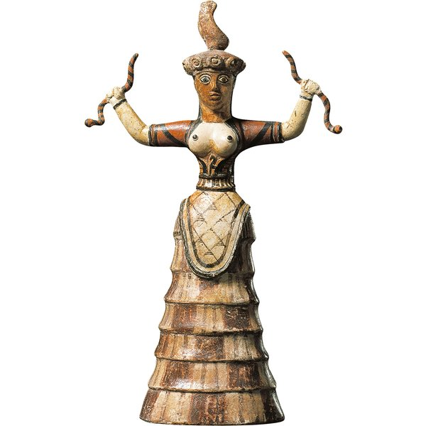 Statuette 'Die Schlangengöttin', Kunstguss handbemalt