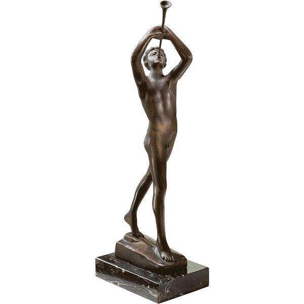 Francesco da SantAgata: Skulptur 'Der Flötenbläser', Metallguss