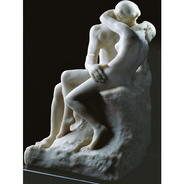 Auguste Rodin: Skulptur 'Der Kuss' (27 cm), Version in Kunstmarmor