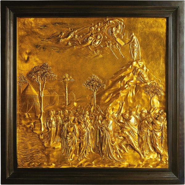 Lorenzo Ghiberti: Wandrelief 'Moses empfängt auf dem Berg Sinai die Gesetzestafeln'