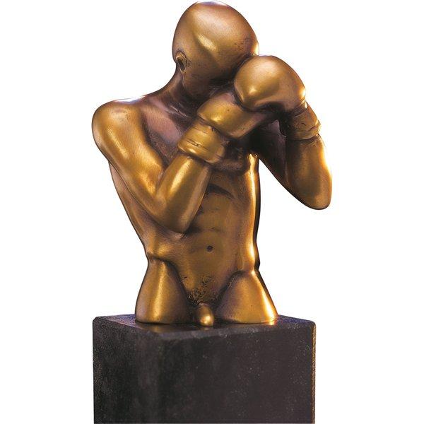 Bruno Bruni: Skulptur 'Der Boxer' (1996), Bronze auf Steinsockel