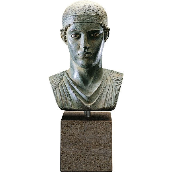 'Büste des Wagenlenkers von Delphi' (Reduktion), Kunstguss handbemalt, Skulptur