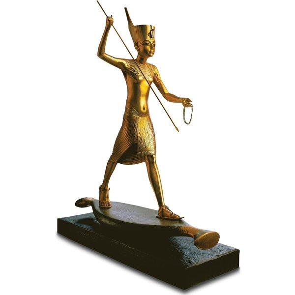 Skulptur 'Tutanchamun mit Harpune', handvergoldet