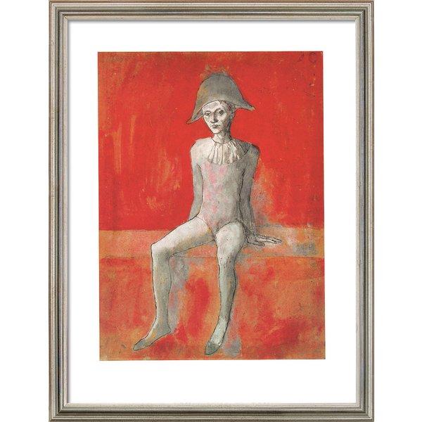 Pablo Picasso: Bild 'Sitzender Harlekin' (1905), gerahmt