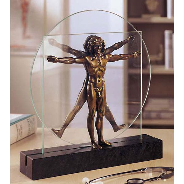 Leonardo da Vinci: Skulptur 'Schema delle Proporzioni', Version in Bronze