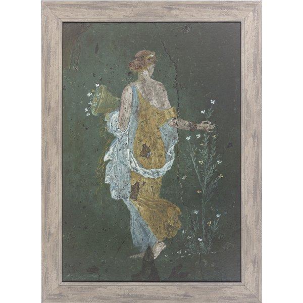 Fresko, römische Malerei aus Pompeji 'Blumenpflückendes Mädchen', gerahmt