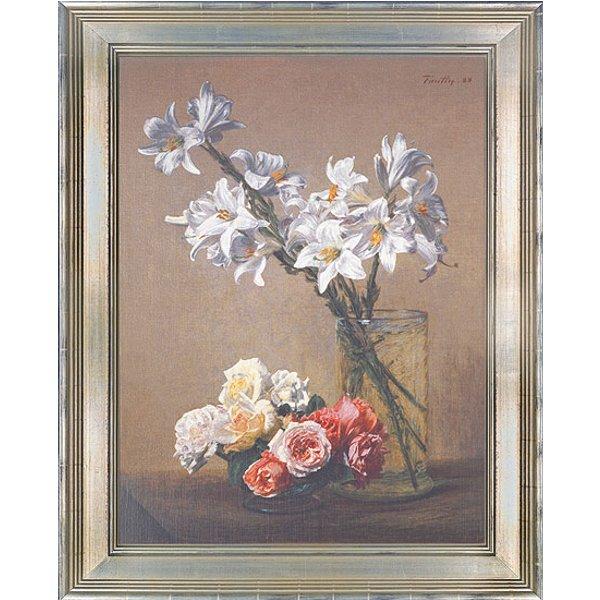 Henri Fantin-Latour: Bild 'Weiße Lilien in Glasvase', gerahmt