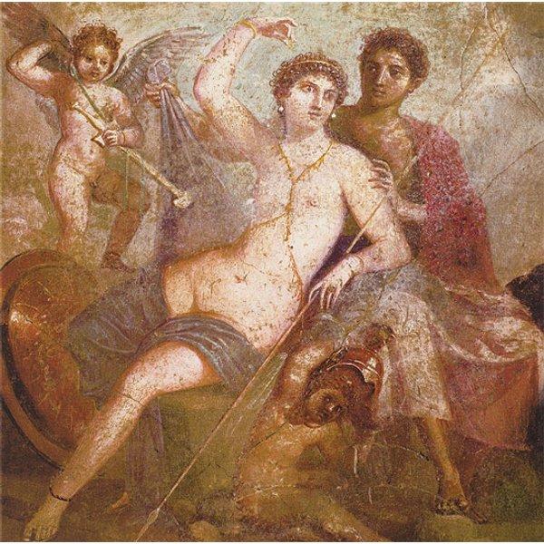 Wandmalerei aus Pompeji: Bild 'Mars und Venus', auf Keilrahmen