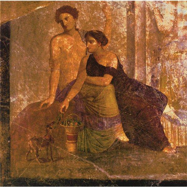 Wandmalerei aus Pompeji: Bild 'Zwei Frauen', auf Keilrahmen