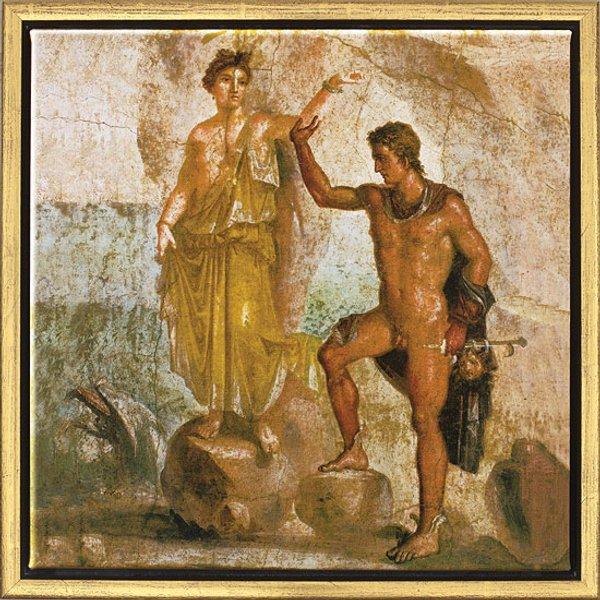 Wandmalerei aus Pompeji: Bild 'Perseus und Andromeda', gerahmt