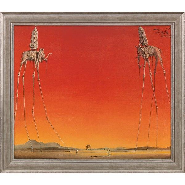 Salvador Dalí: Bild 'Les Éléphants' (1948), gerahmt