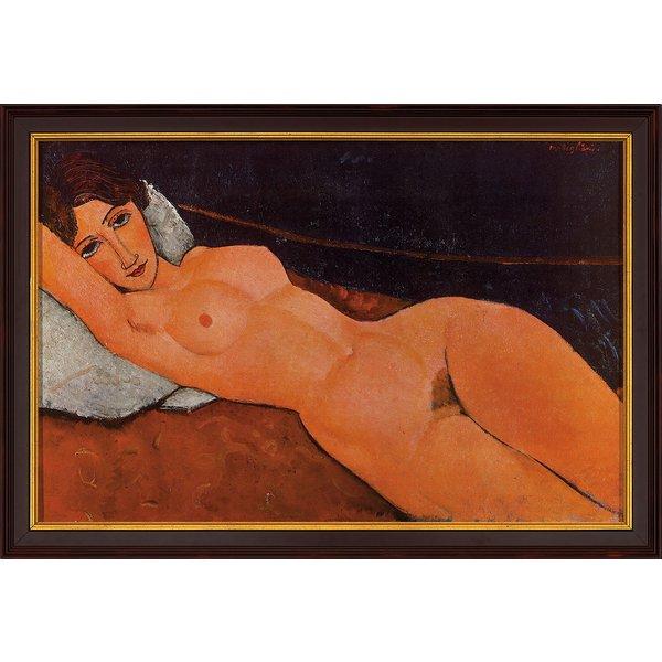 Amedeo Modigliani: Bild 'Liegender Frauenakt auf weißem Kissen', 1917, gerahmt