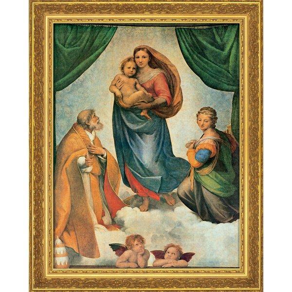 Raffaelo Santi: Bild 'Sixtinische Madonna' (um 1513), gerahmt