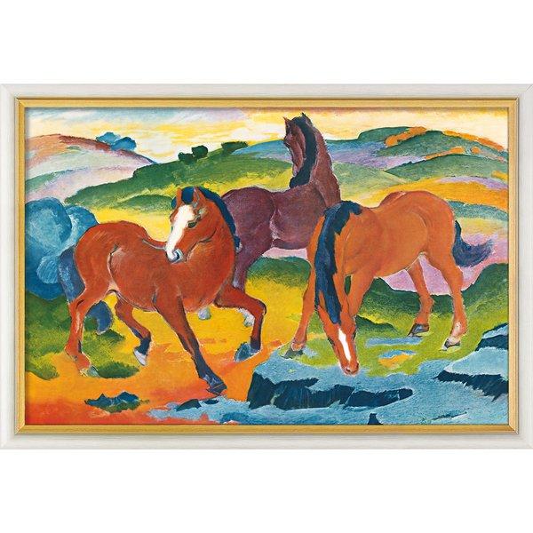 Franz Marc: Bild 'Die roten Pferde' (1911), gerahmt