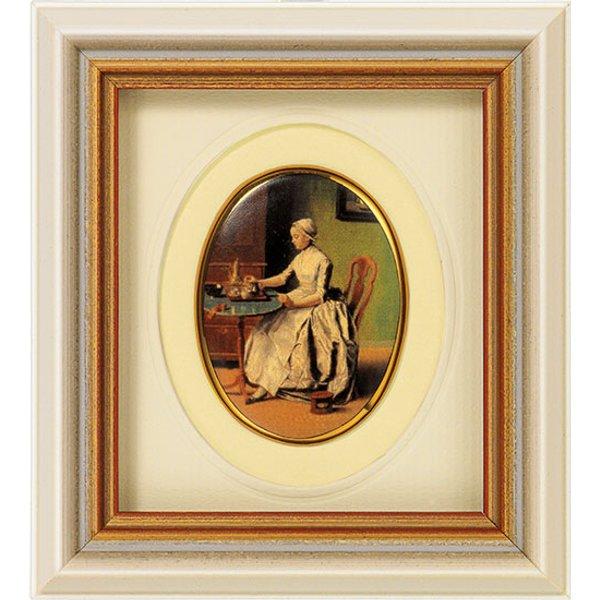 Jean-Étienne Liotard: Miniatur-Porzellanbild 'Schokolade trinkende Dame' (um 1744), gerahmt