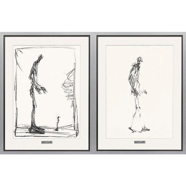 Alberto Giacometti: 2 Bilder 'Dessin I (Groß und Klein) + II (Schreitender Mann)' im Set