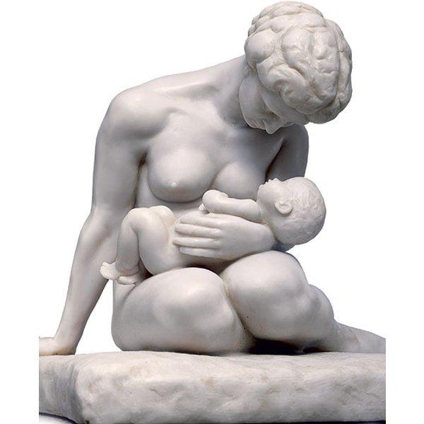 Wilhelm Lehmbruck: Skulptur 'Mutter mit Kind' (1907), Version in Kunstmarmor