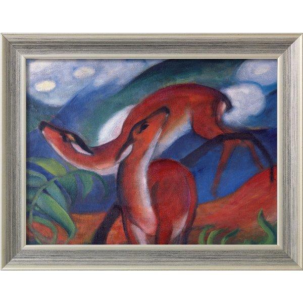 Franz Marc: Bild 'Rote Rehe II' (1912), gerahmt