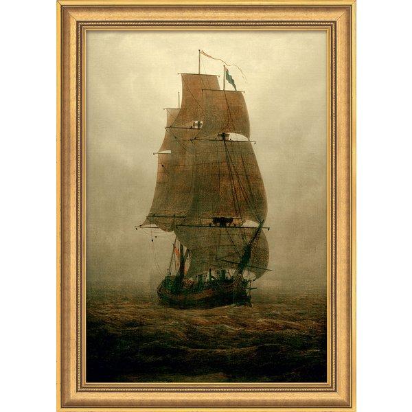Caspar David Friedrich: Bild 'Segelschiff im Nebel' (1815), gerahmt