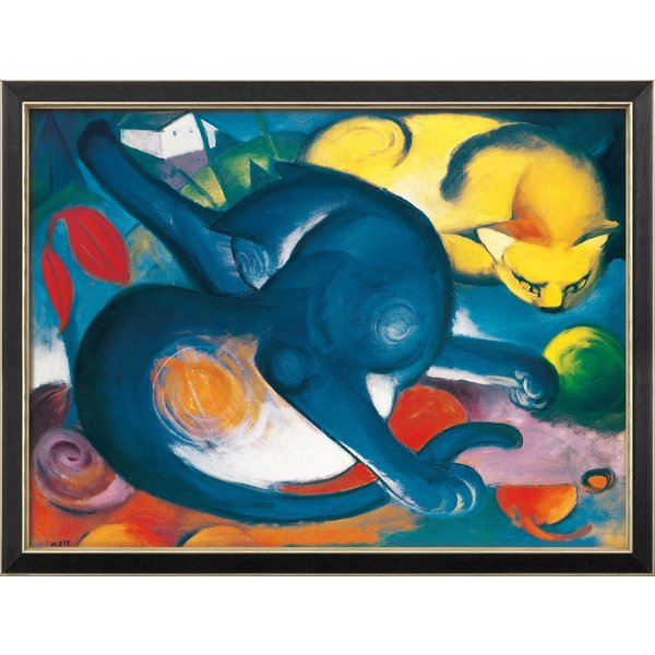 Franz Marc: Bild 'Zwei Katzen, blau und gelb' (1912), gerahmt