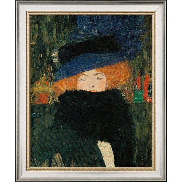 Gustav Klimt: Bild 'Bildnis einer Frau mit Hut und Federboa' (1909), gerahmt