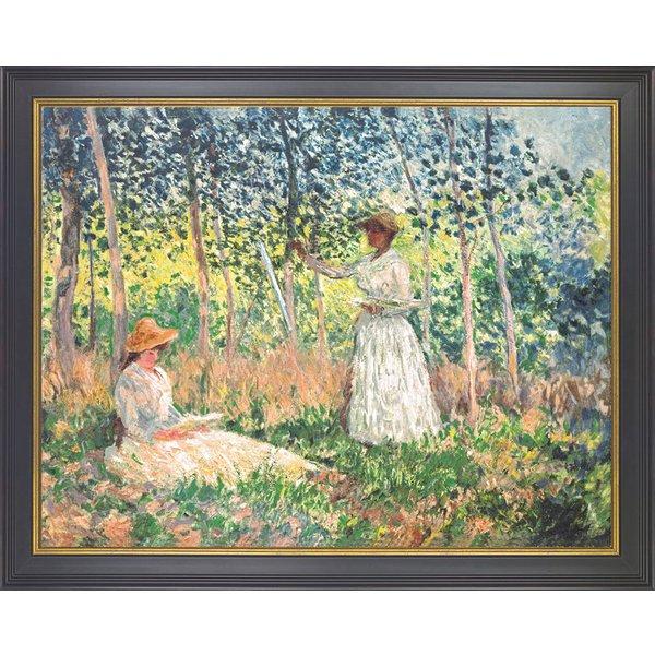 Claude Monet: Bild 'Suzanne und Blanche Hoschedé beim Lesen und Malen' (1890), gerahmt