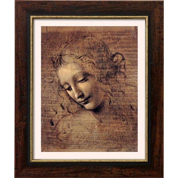 Leonardo da Vinci: Bild 'Frauenkopf' (um 1508), gerahmt