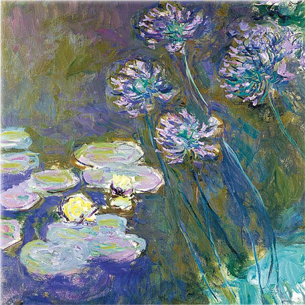 Claude Monet: Glasbild 'Gelbe Seerosen und Agapanthus'