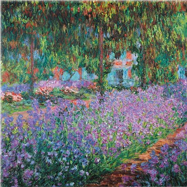 Claude Monet: Glasbild 'Irisbeet in Monets Garten'