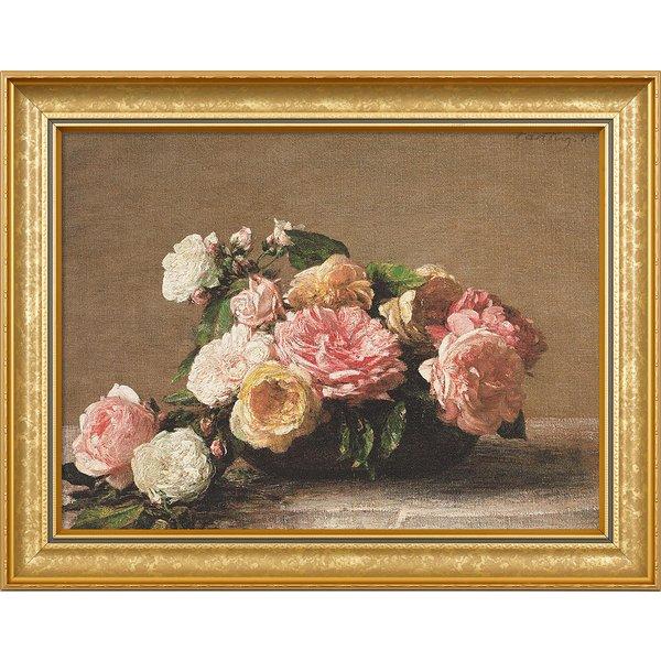 Henri Fantin-Latour: Bild 'Roses dans une coupe - Rosen in der Schale' (1882), gerahmt