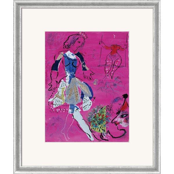 Marc Chagall: Bild 'Tänzerin vor malvenfarbigem Hintergrund', gerahmt