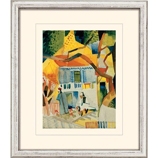 August Macke: Bild 'Innenhof des Landhauses in St. Germain' (1914), gerahmt
