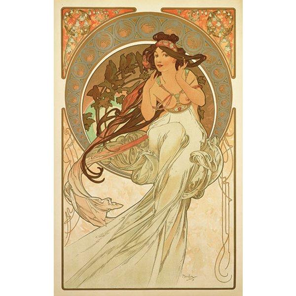 Alphonse Mucha: Glasbild 'Die Musik' (1898)