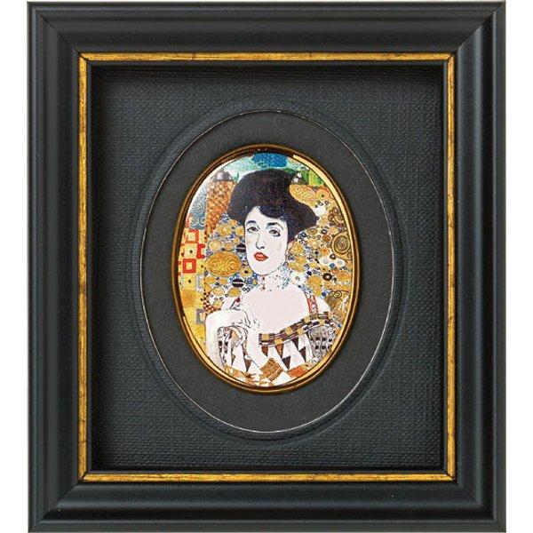 Gustav Klimt: Miniatur-Porzellanbild 'Adele Bloch-Bauer' (um 1907), gerahmt