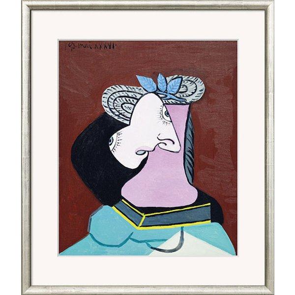 Pablo Picasso: Bild 'Frau mit Strohhut' (1936), gerahmt