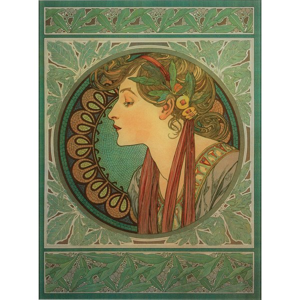 Alphonse Mucha: Glasbild 'Lorbeer' (1901)
